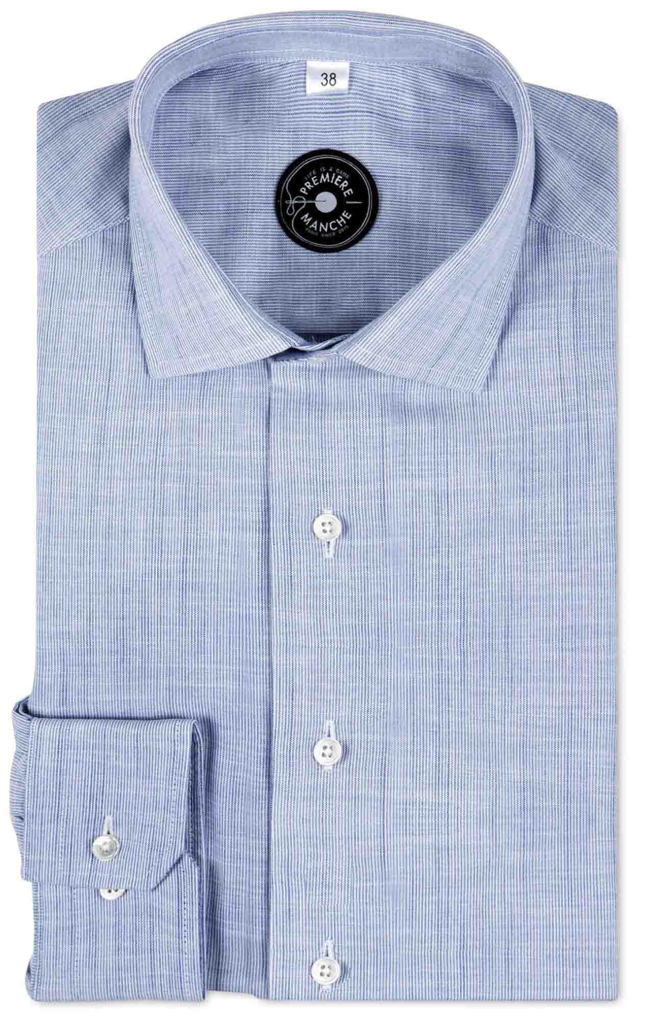 Chemise chambray bleu rayé Chemises Hommes