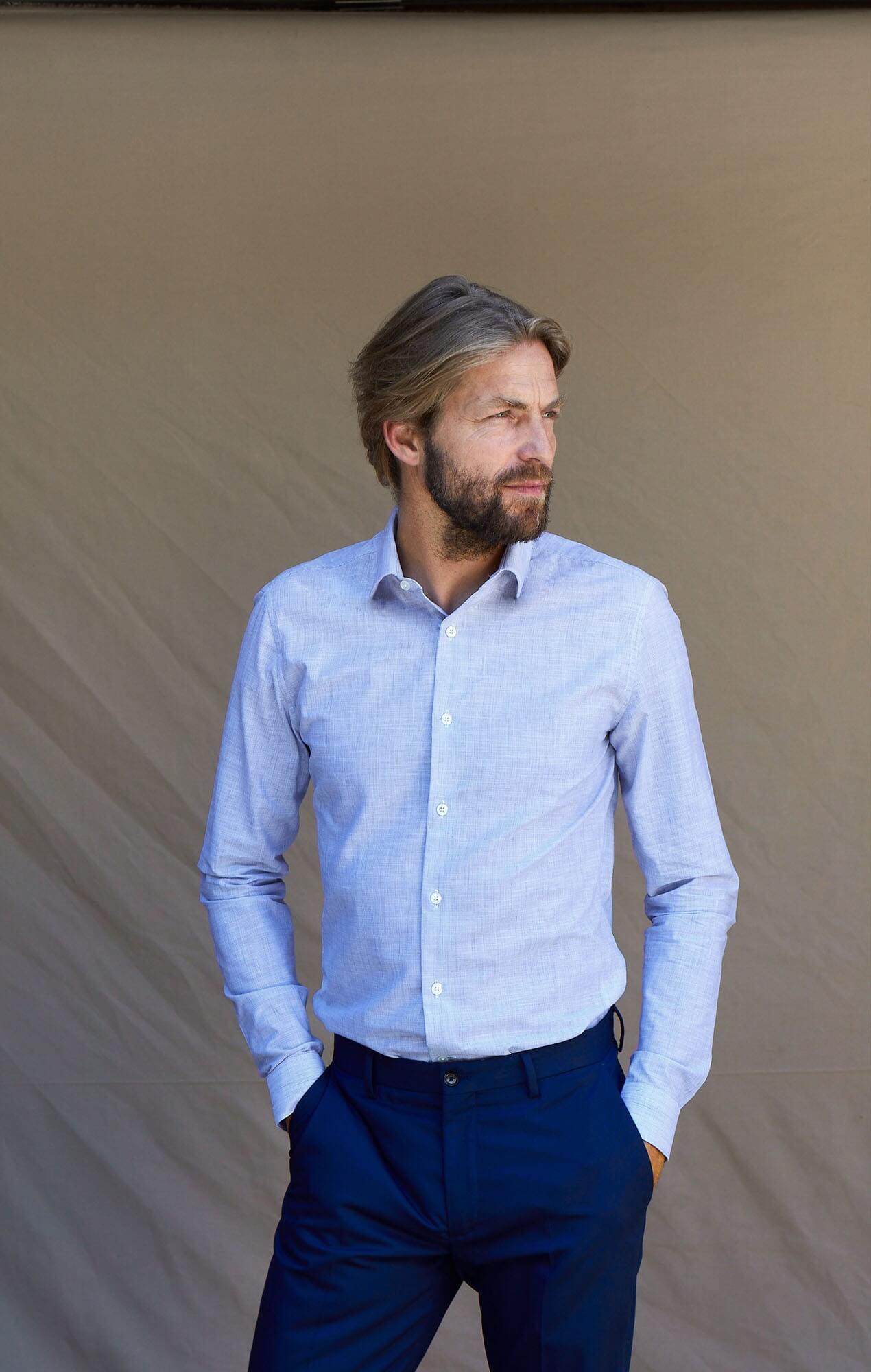 Chemise chambray bleu rayé