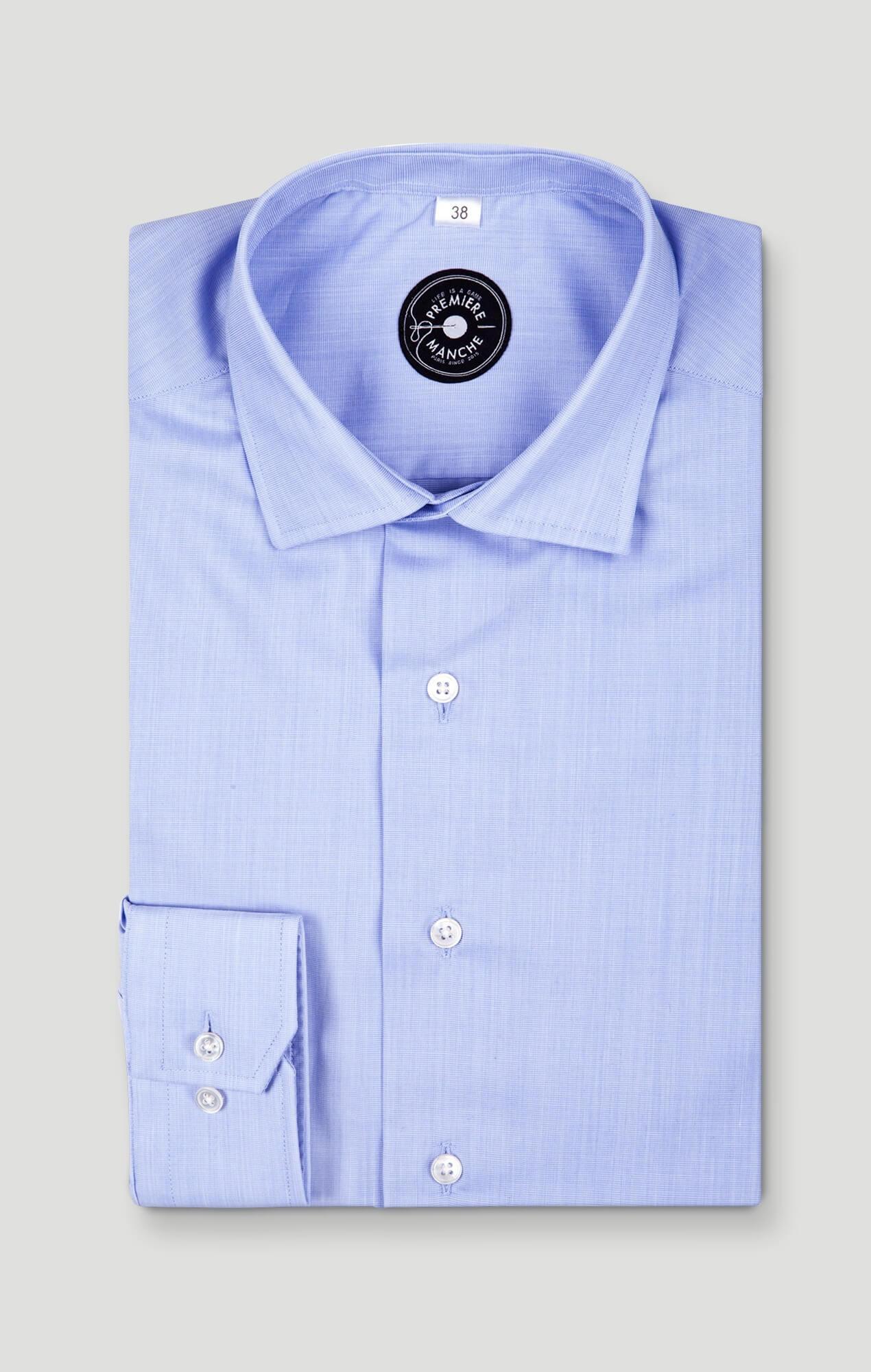 Chemise bleue fil à fil non-iron