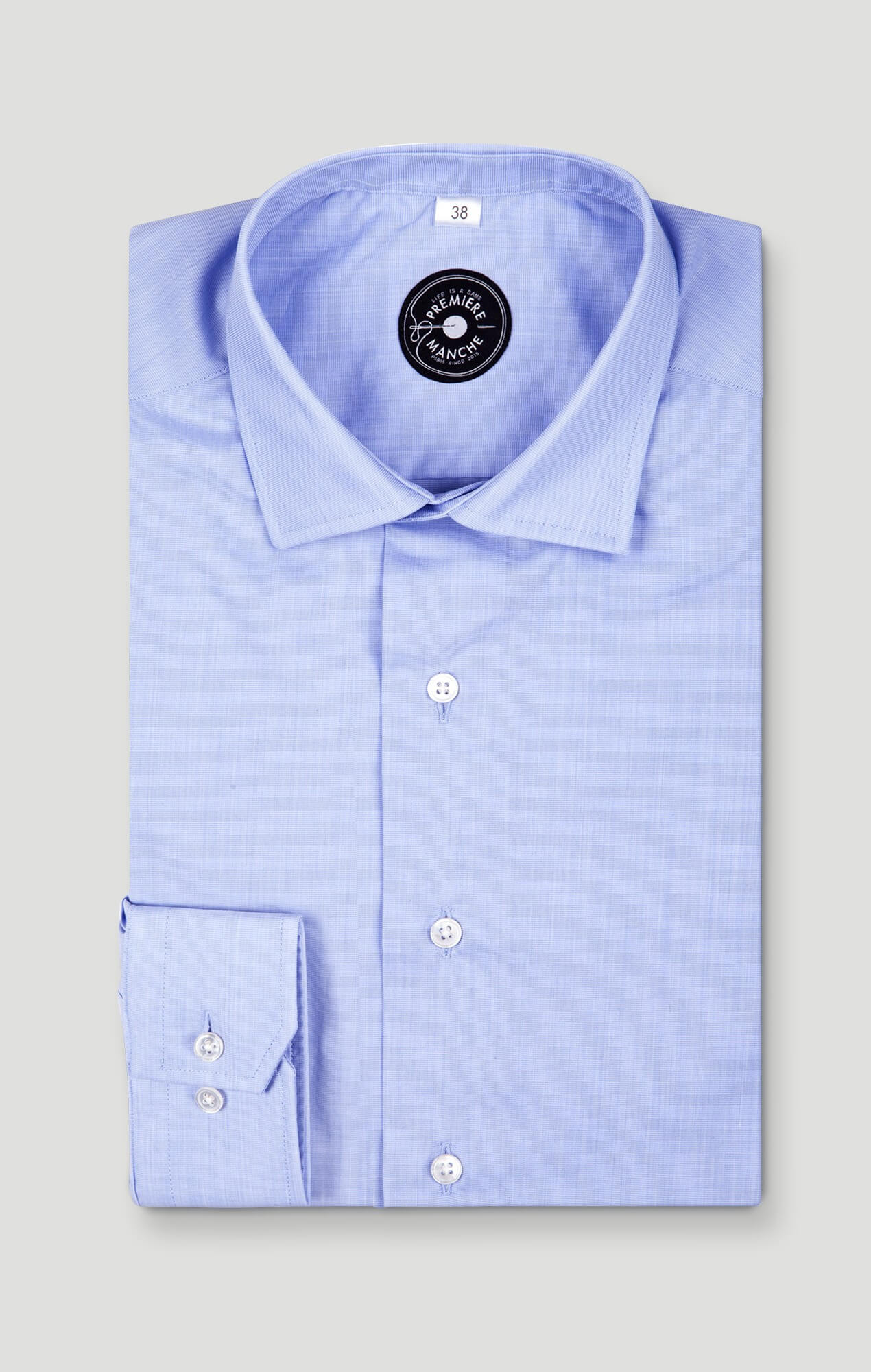 Non-iron end-on-end blue shirt