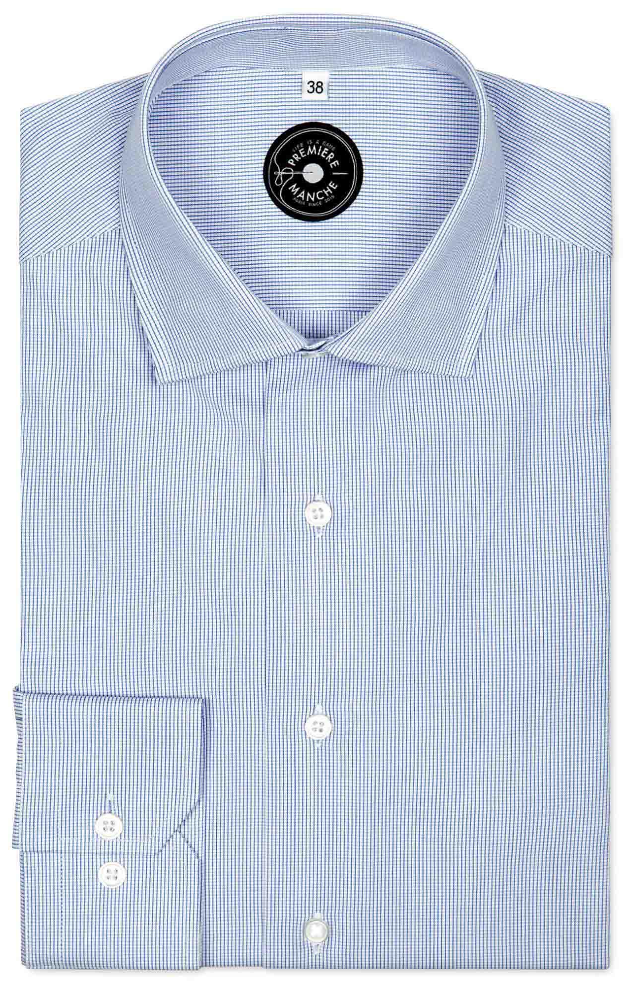 Chemise mini carreaux bleu Chemises Hommes