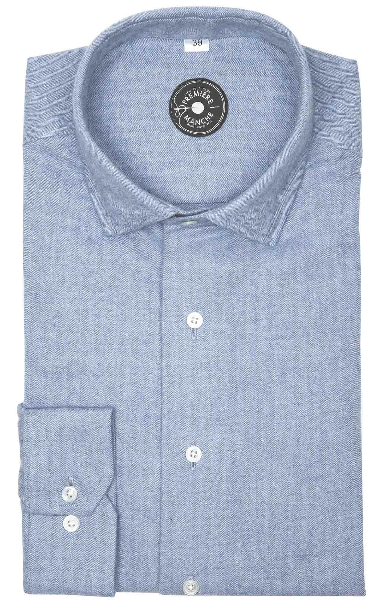Chemise flanelle bleu clair Italie Chemises flanelles