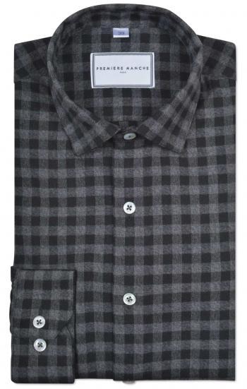 Chemise en flanelle à carreaux gris