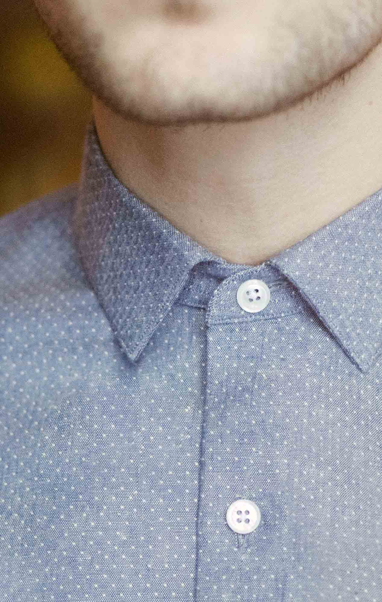 Blue oxford shirt with dots