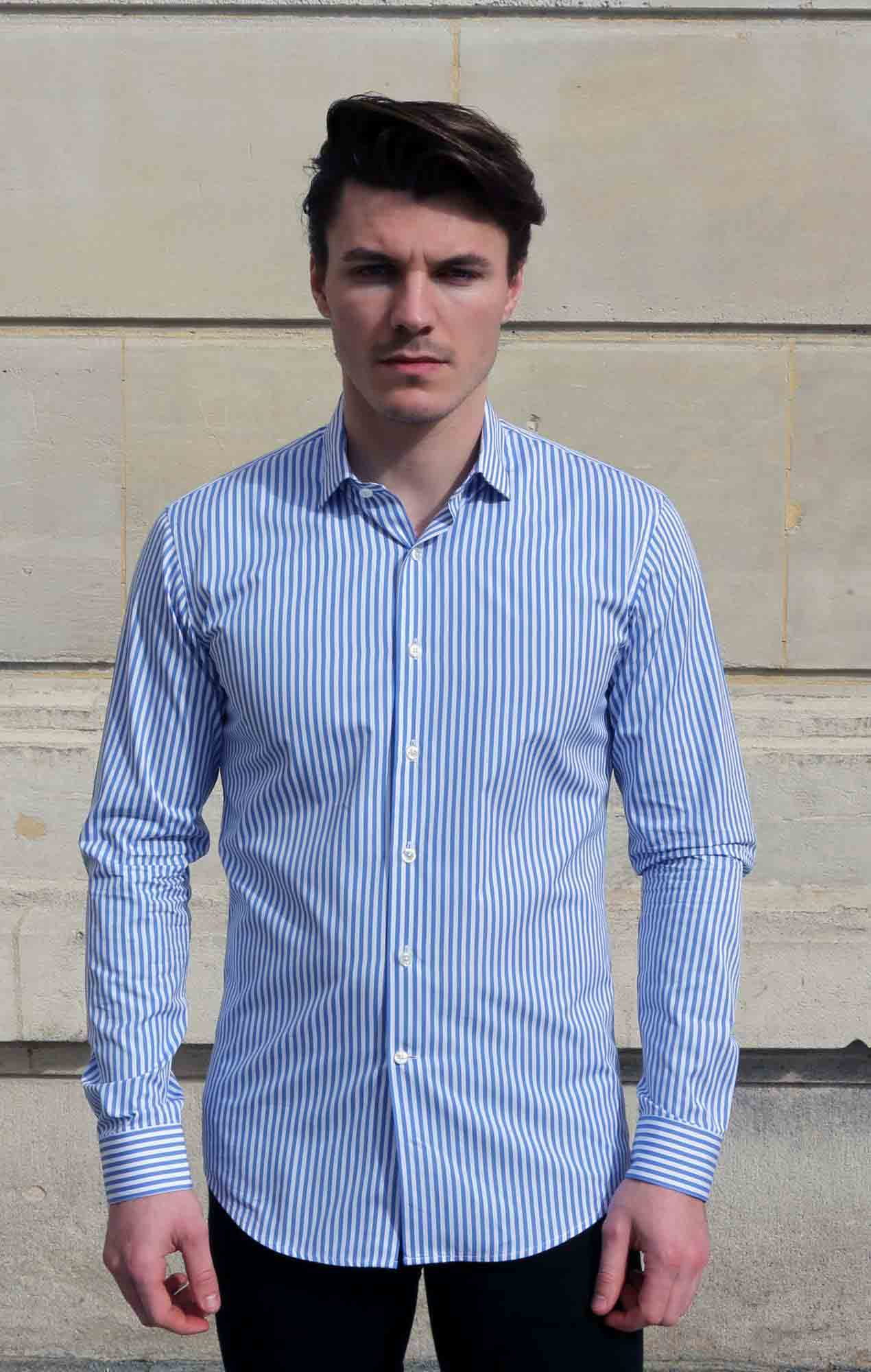 Blue poplin striped shirt