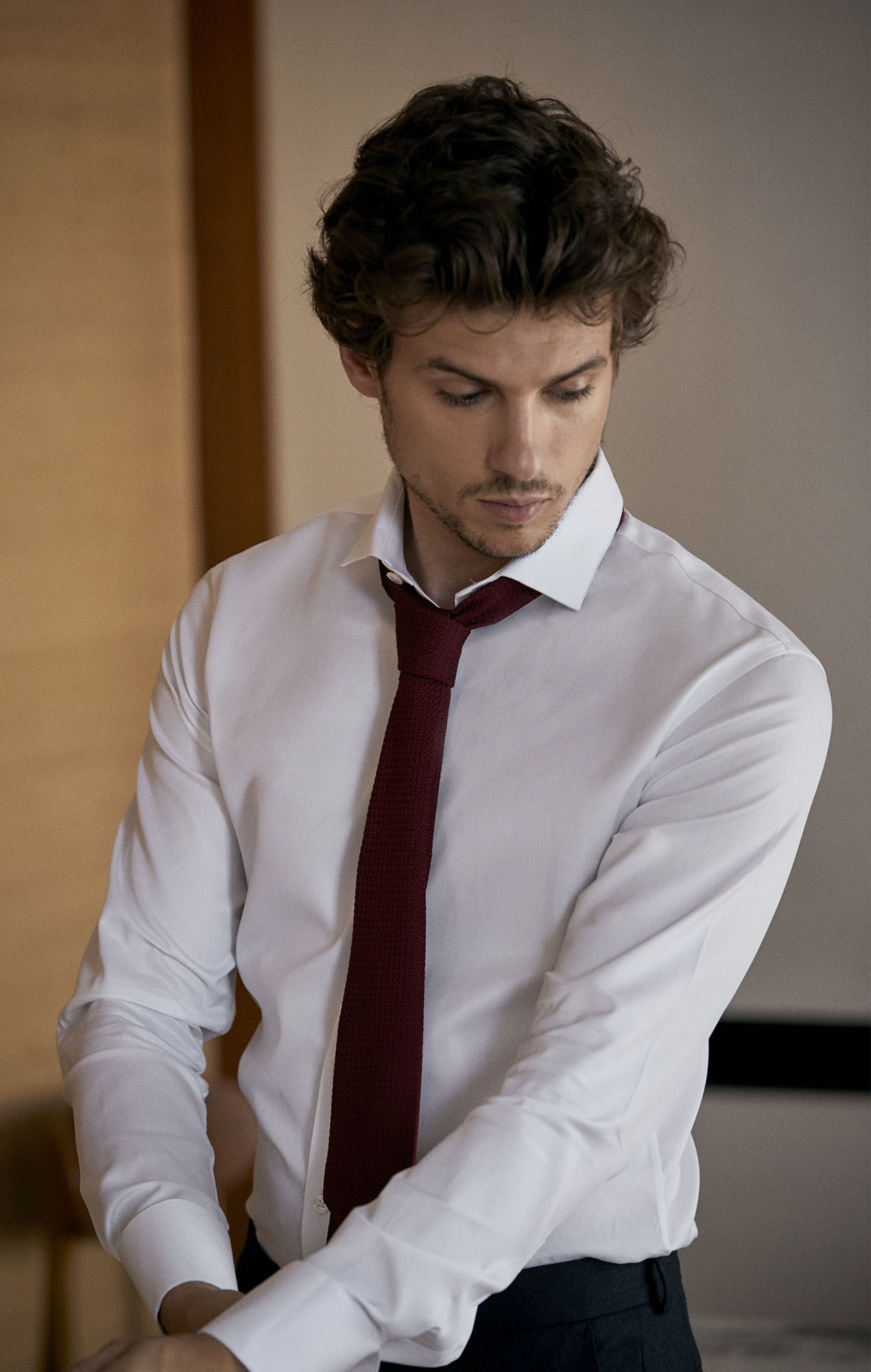Chemise blanche dobby Chemises Hommes