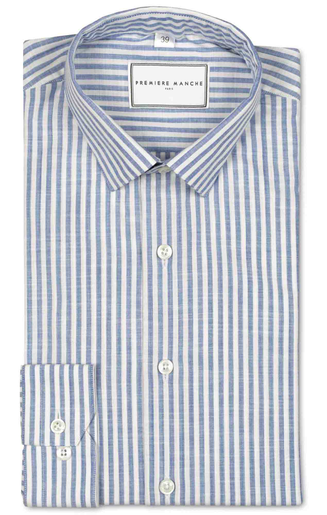Blue striped chambray