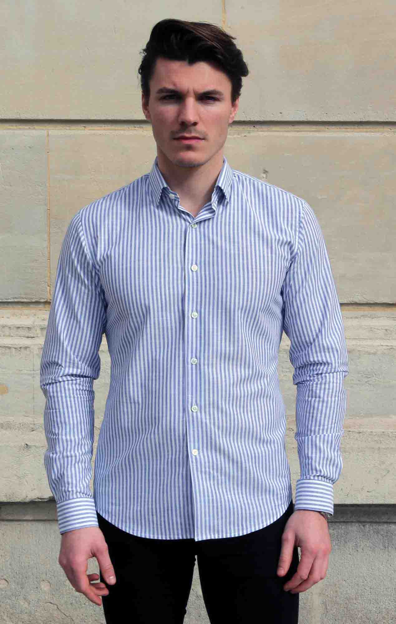 Chemise chambray rayures equidistantes Chemises Hommes