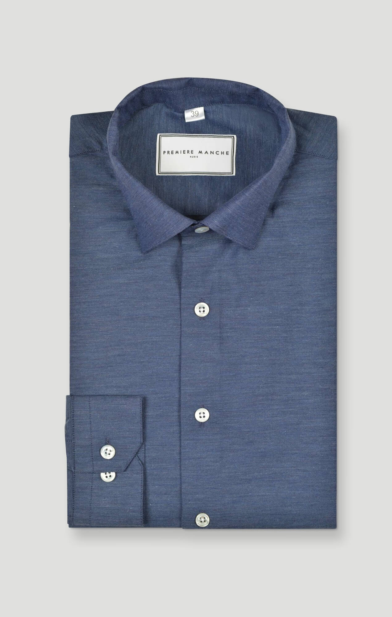 Blue houndstooth oxford shirt