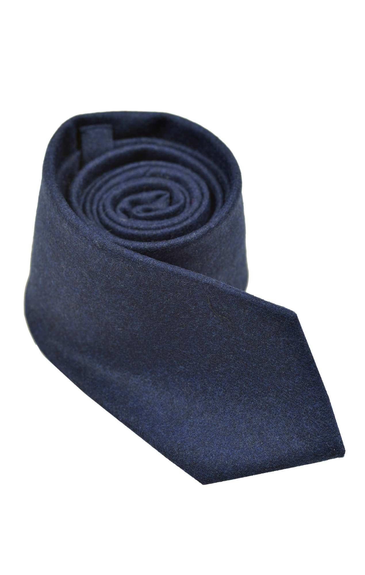 Cravate Barry laine & cachemire marine Cravates