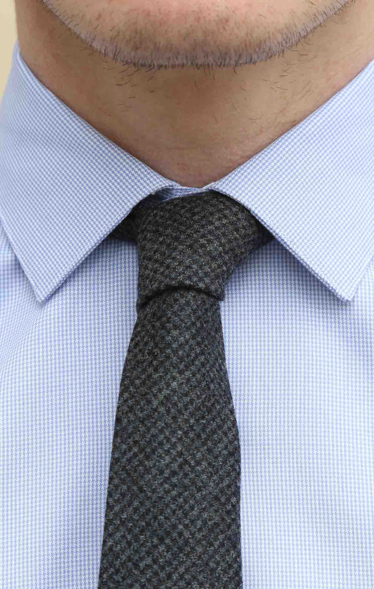 Barry tie grey herringbone