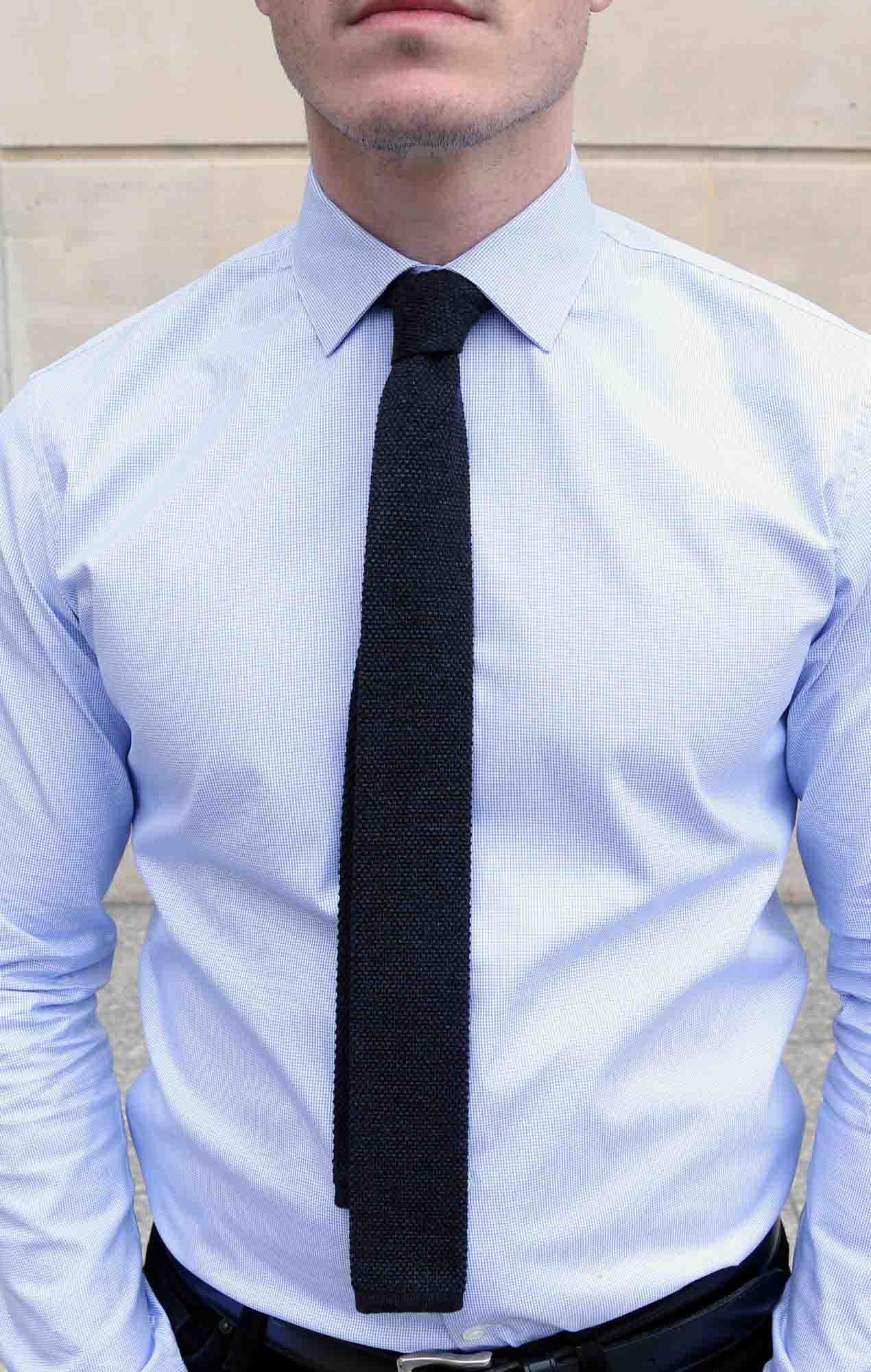 Cravate Austen tricot gris