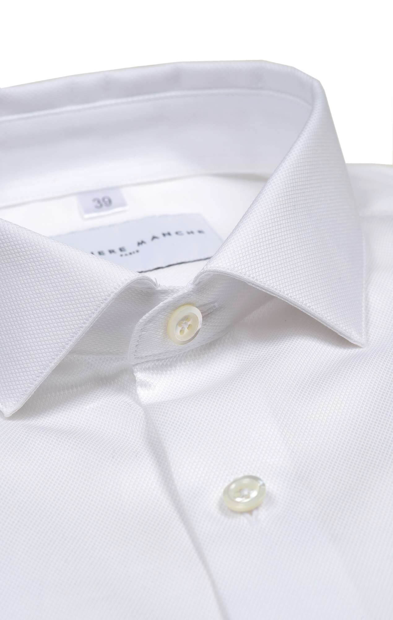 White dobby shirt with french cuff