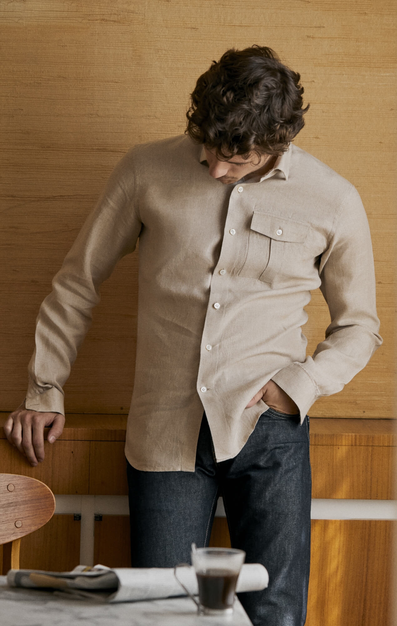 Chemise lin irlandais beige Chemises Hommes