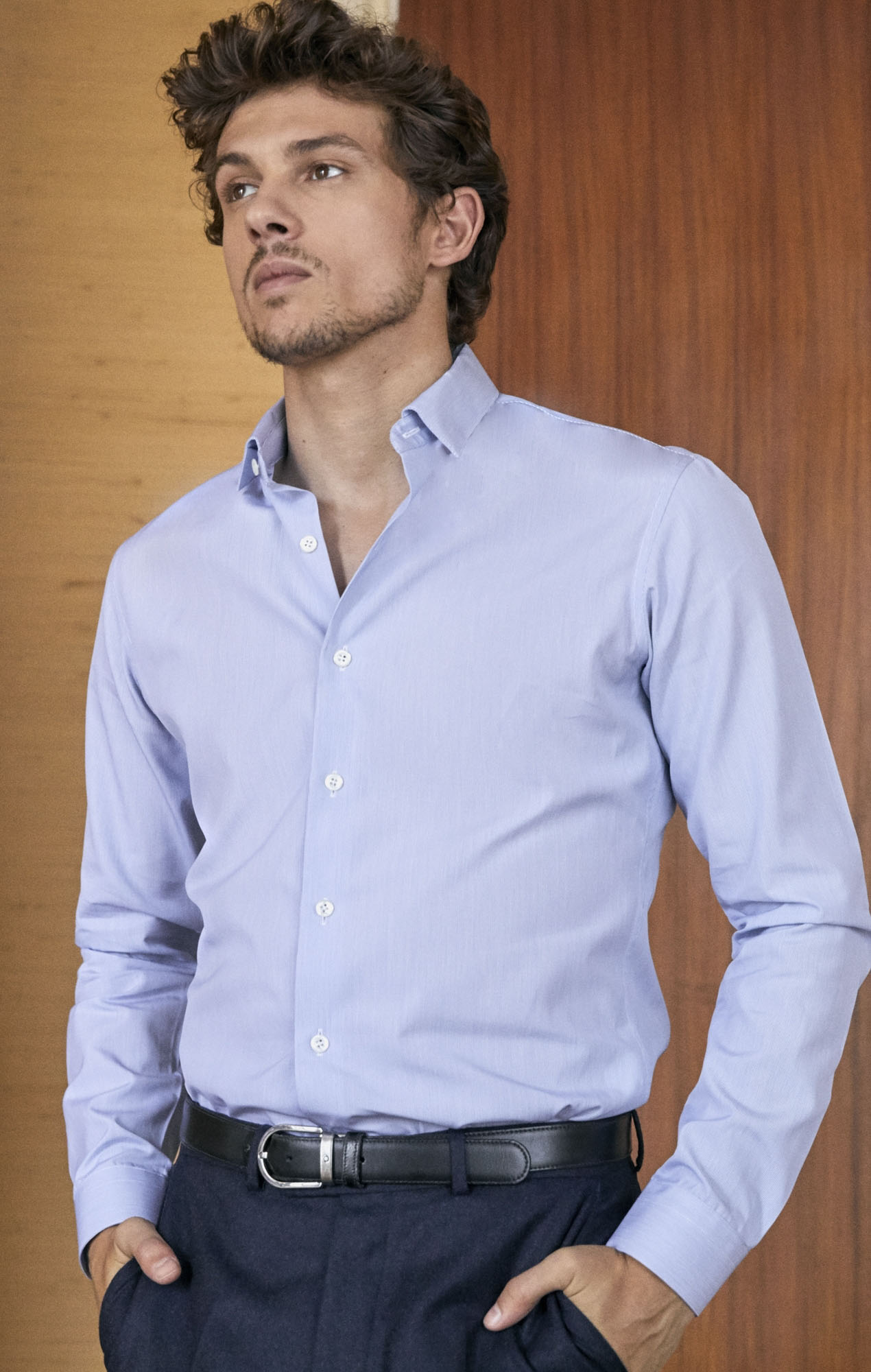 Chemise fil à fil bleu Chemises Hommes