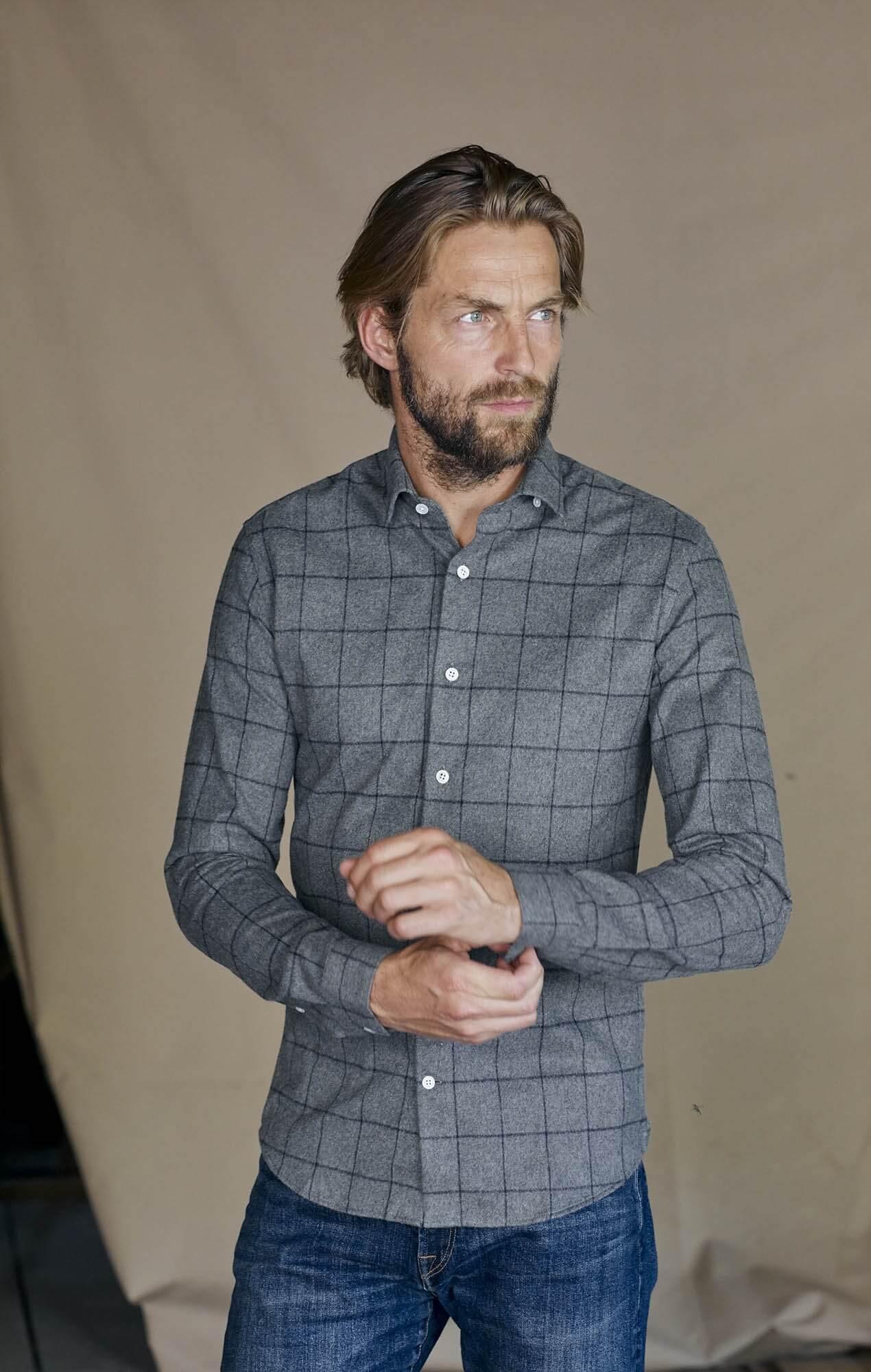 Chemise flanelle carreaux gris japonais