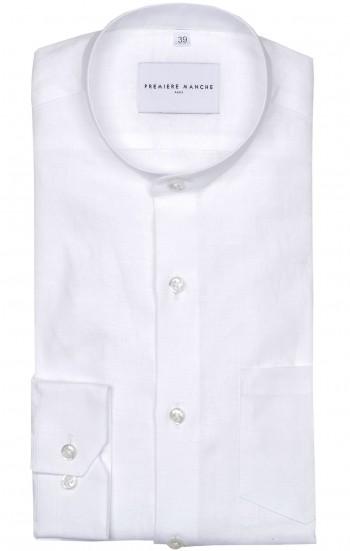 Chemise blanche lin irlandais col officier