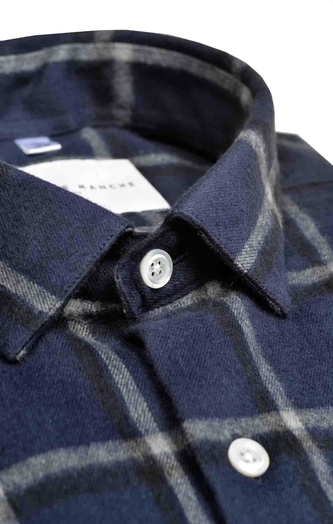 Chemise flanelle carreaux bleu japonais Chemises Hommes