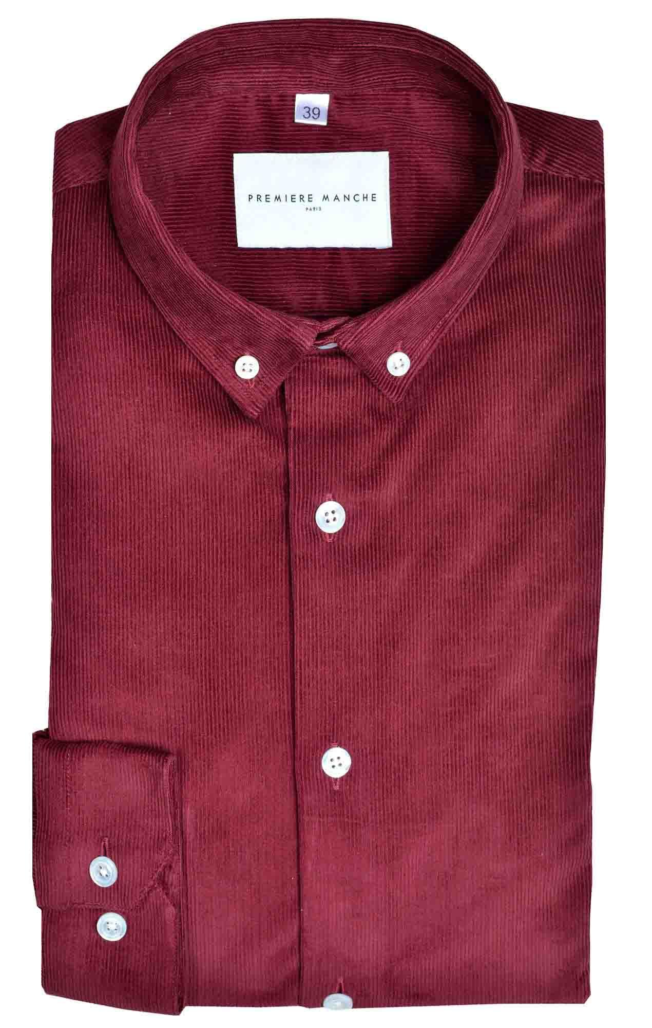 Sur-chemise velours côtelé rouge