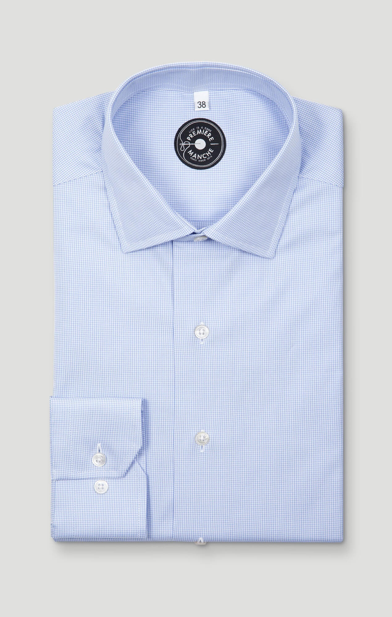 Oxford light blue faux-uni