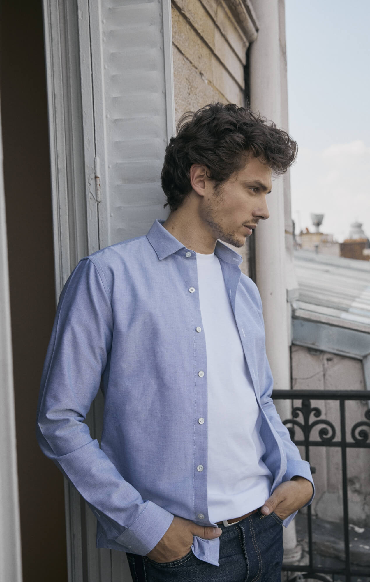 Chemise bleu-gris Oxford Chemises Hommes