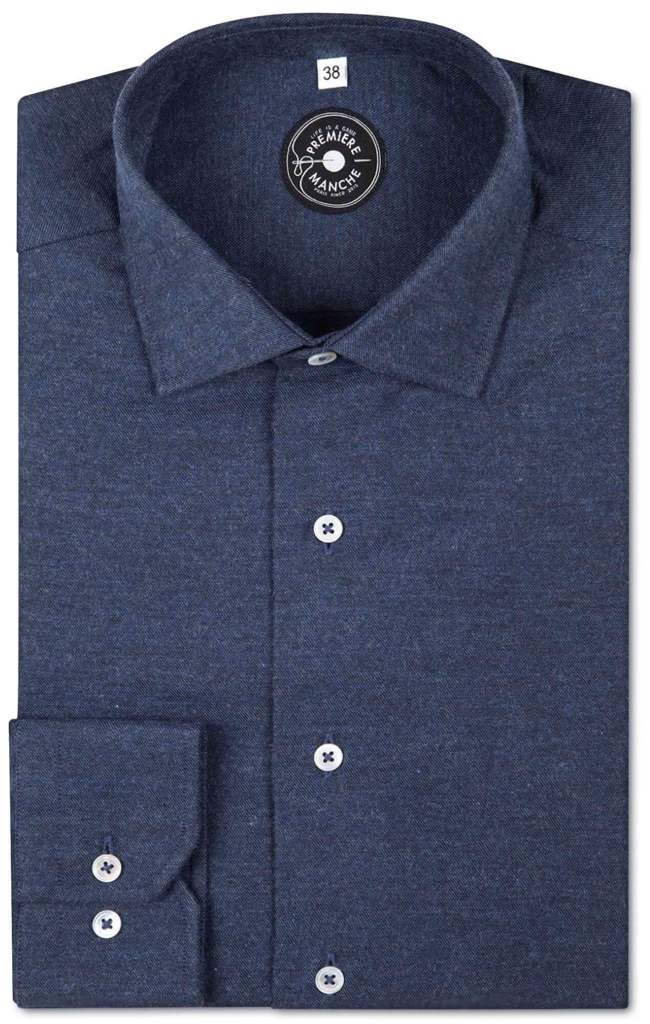 Chemise flanelle bleue foncé - très douce Chemises Hommes