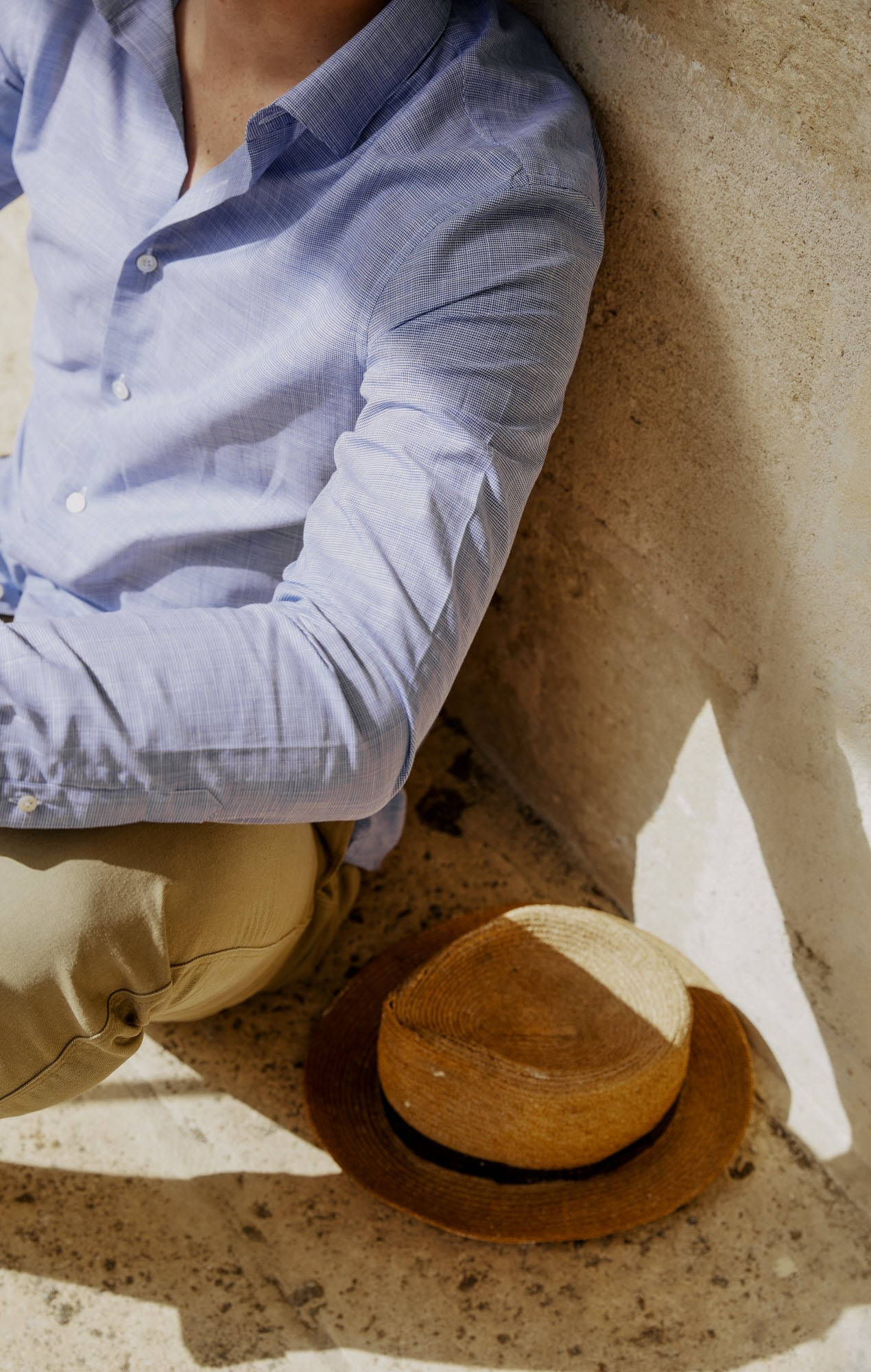 Chemise chambray bleue pied de poule
